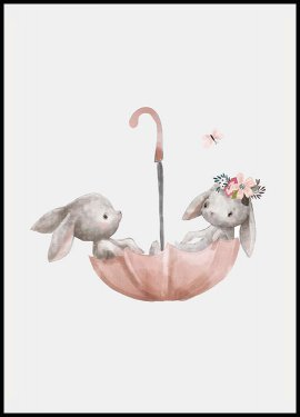Plakat Bunnies Umbrella